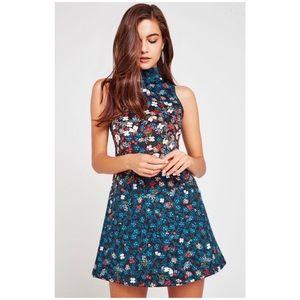 BCBG Midnight Floral A-Line Dress